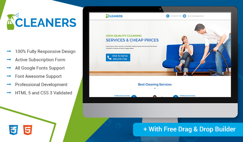 Free Landing Page Builder With Cleaning Services PPC Landing Page Design Template