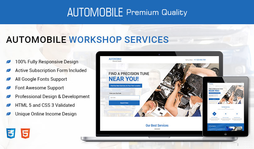 Boost Your Car Repair Business With High Lead Generating Responsive Auto Workshop Landing Page Design Template
