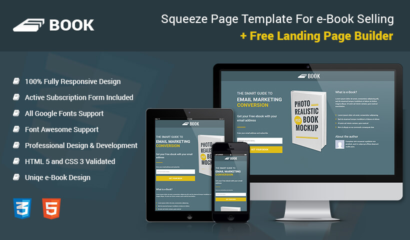 Lead Gen Ebook Landing Page Template With Free Builder