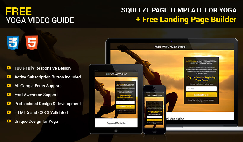 Lead Generating Yoga Landing Page Template with Free Landing Page Builder