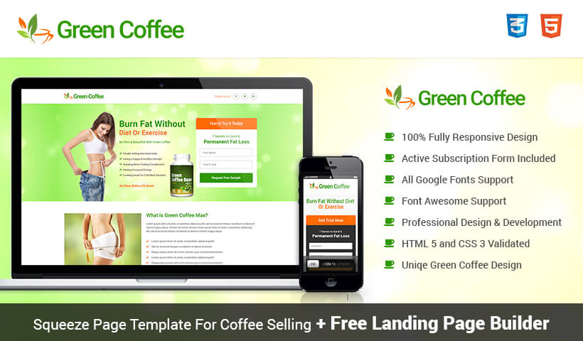 lead gen weight loss squeeze page template with free landing page