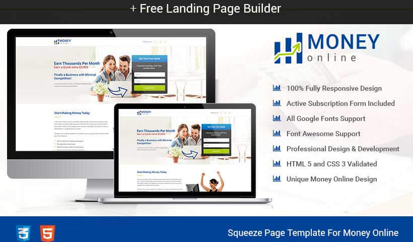 Money Online Squeeze Page Template With Free Landing Page Builder To Get High Lead