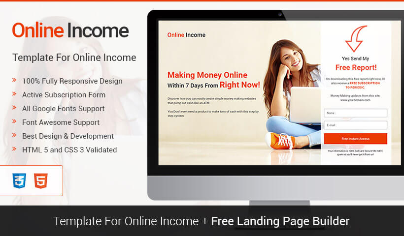Lead Gen Online Income Squeeze Page Template With Free Landing Page - Squeeze page templates wordpress