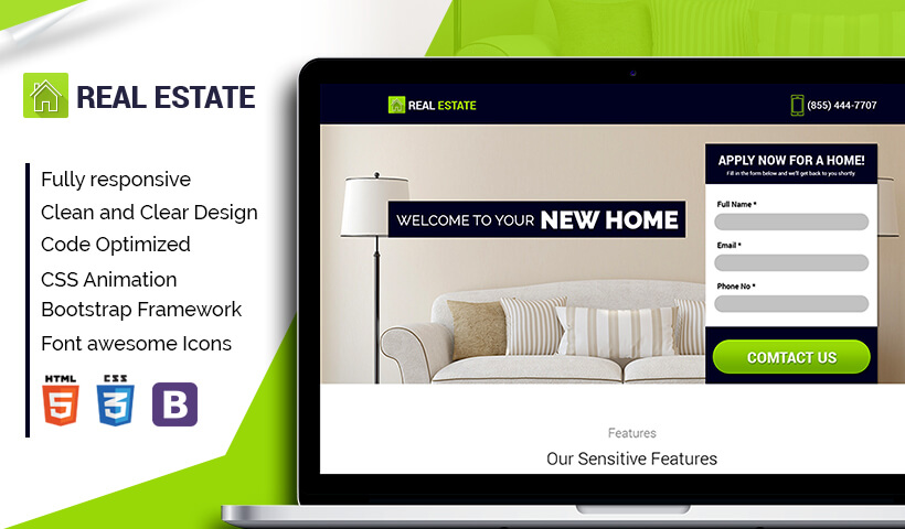 Lead Generating Responsive Real Estate Landing Page Design Templates For Real Estate Agents and Broker Business Conversion