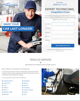 Boost Your Car Repair Business With Responsive Auto Workshop Landing Page Design Templates