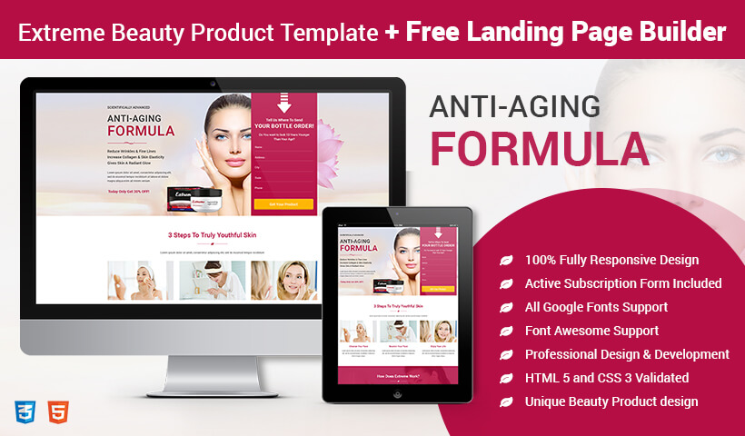 lead gen beauty product landing page template with free landing page builder olanding. Black Bedroom Furniture Sets. Home Design Ideas