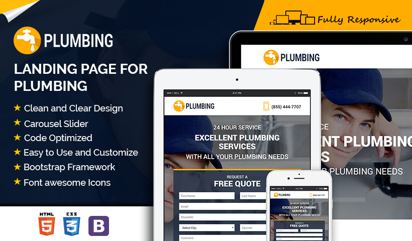 Best Lead Generating Responsive Converting Plumbing Landing Page Design To Capture Positive Leads For Your Business and Services