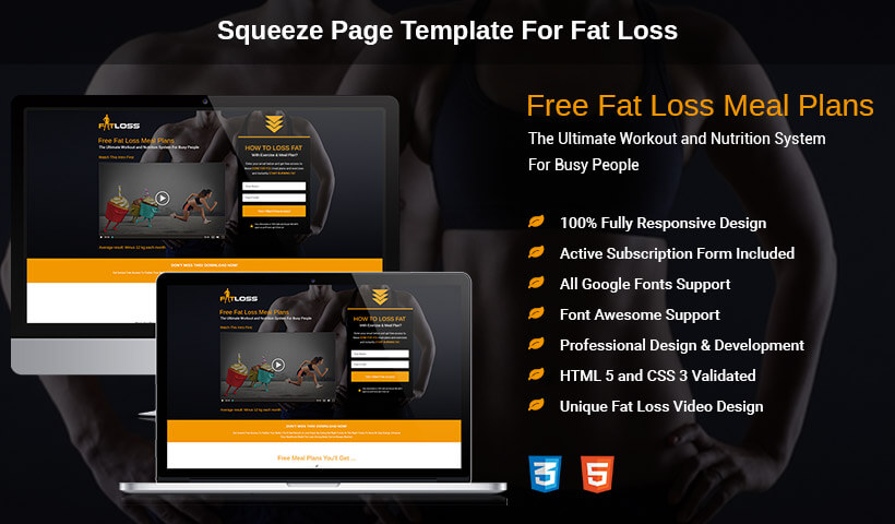 Boost Sale Of Your Product and Conversion With Best HTML5 Responsive Fat Loss Video Lead Capture Squeeze Page Design Templates