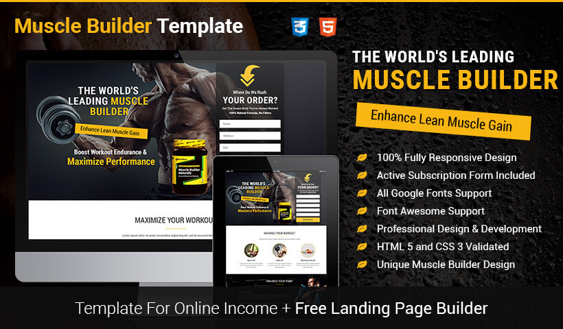 High Lead Generating Food Supplements Landing Page Template With Free Landing Page Builder