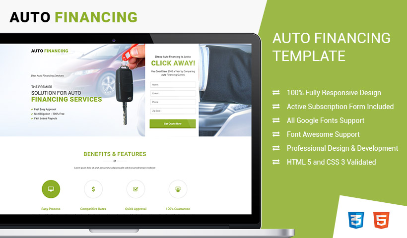 Lead Gen Responsive Auto Financing Landing Page Design Templates To ...