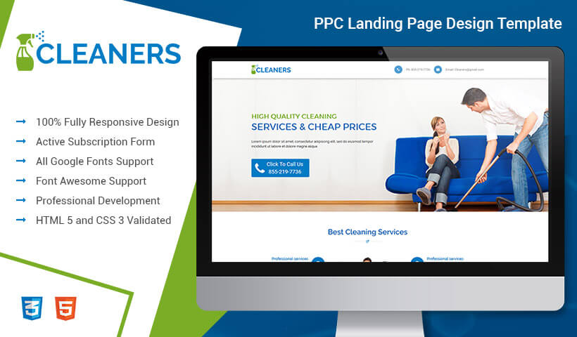 Responsive Professional and Converting Cleaning Service PPC Landing Page Template Design For High Lead Gathereing