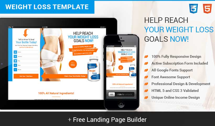 Responsive Weight Loss Squeeze Page Template With Free Squeeze Landing Page Builder To Get High Lead