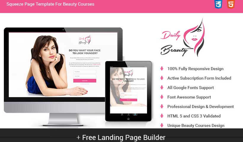 Spa Beauty Salon And Beauty Parlor Skin Care Squeeze Page Template - Squeeze page templates wordpress