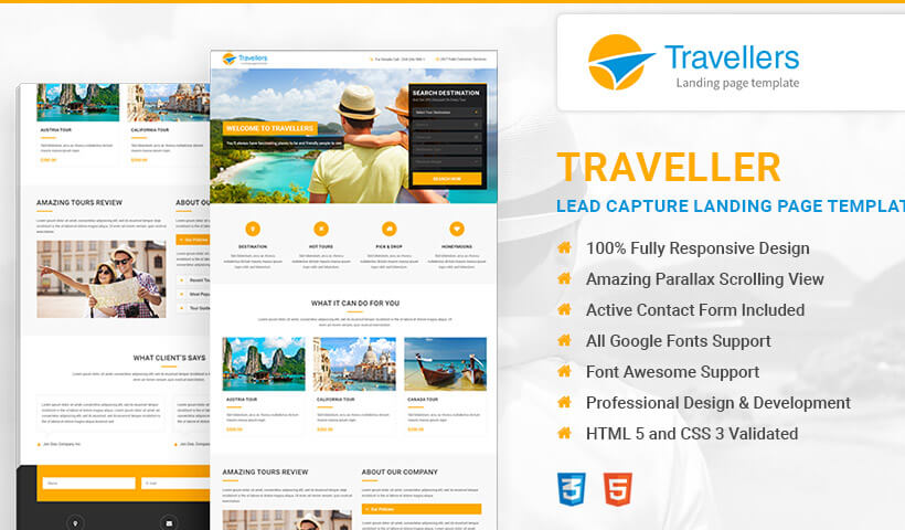 Grow Your Business With Travel High Lead Generating Landing Page HTML Template
