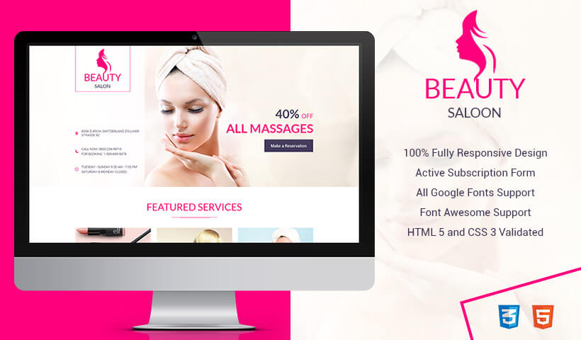 beauty salon spa responsive html5 landing page design template to