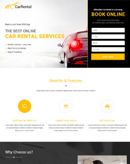 Responsive HTML5 Car Hire Business and Services Landing Page Design Template For High Lead Capturing