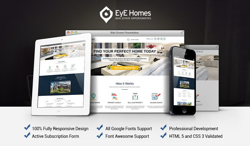 Real estate Mobile responsive landing page design templates for real estate agents, broker and developer