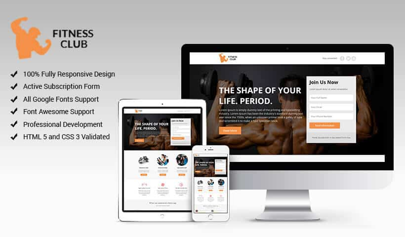 Fitness Club Internet Marketing Landing Page Design Template