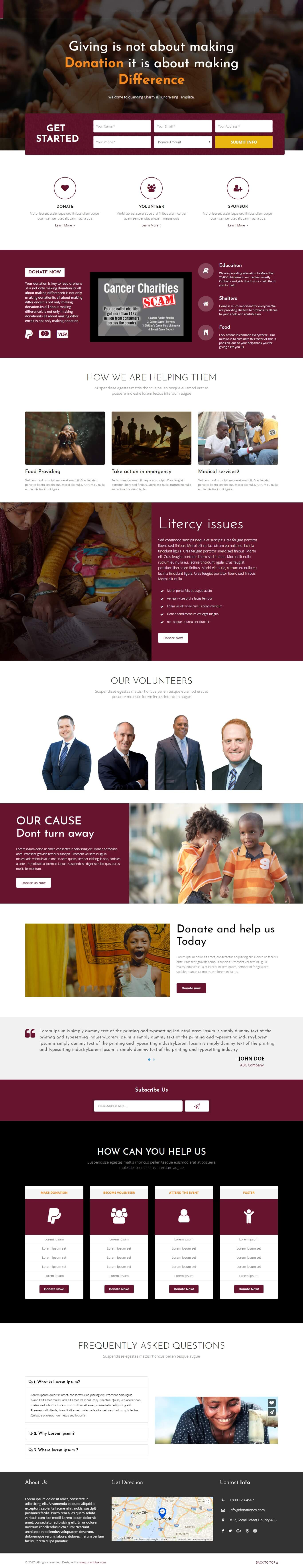 charity and donation landing page design template to generate more