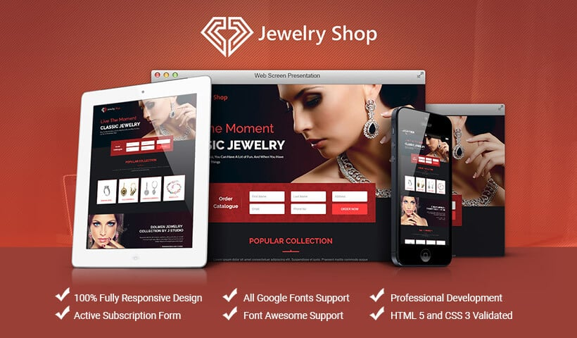 Lead Gen Responsive HTML5 Landing Page Template For Jewellery Stores