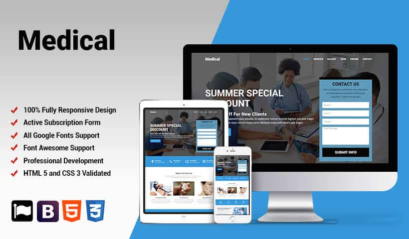 Medical Store Product and Services Landing Page Design Template