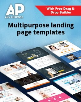 Multipurpose Marketing Landing Pages Templates with Free Drag and Drop Builder