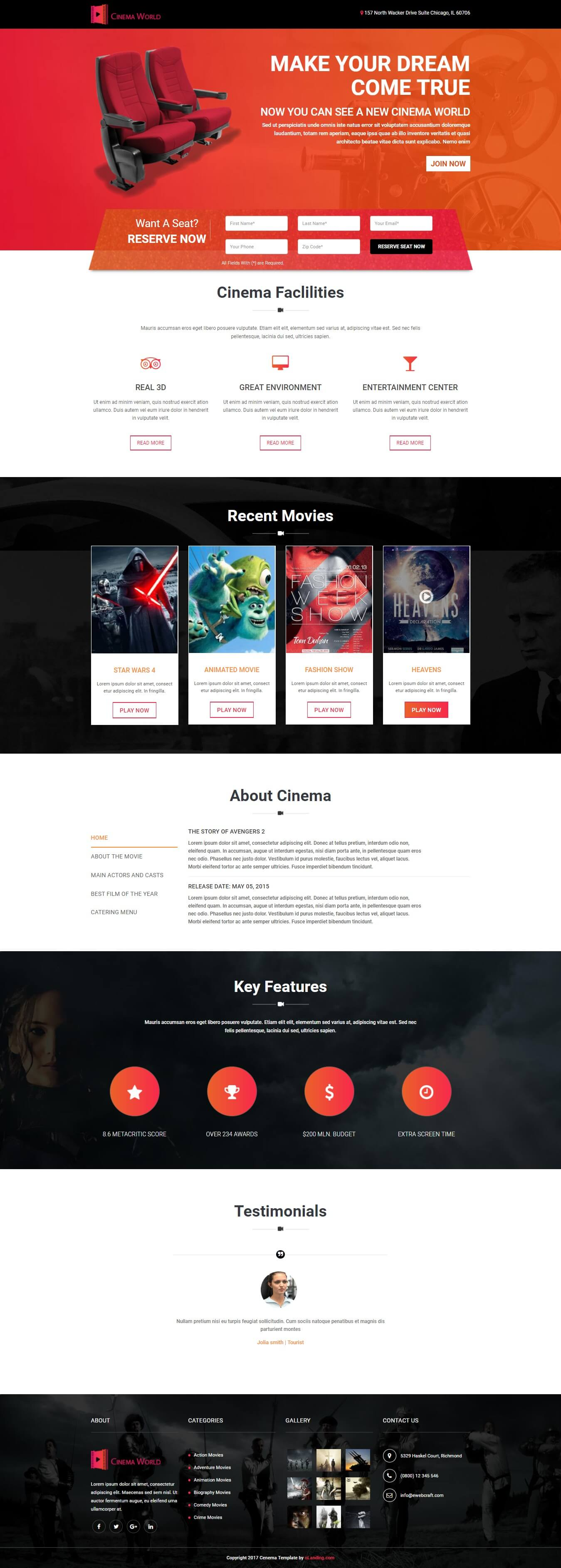 Responsive movie Landing page template for Cinema, , TV and Film