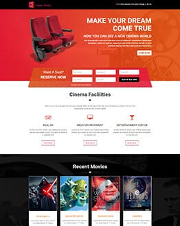 Responsive Cinema, Film, TV and Movies Landing page template