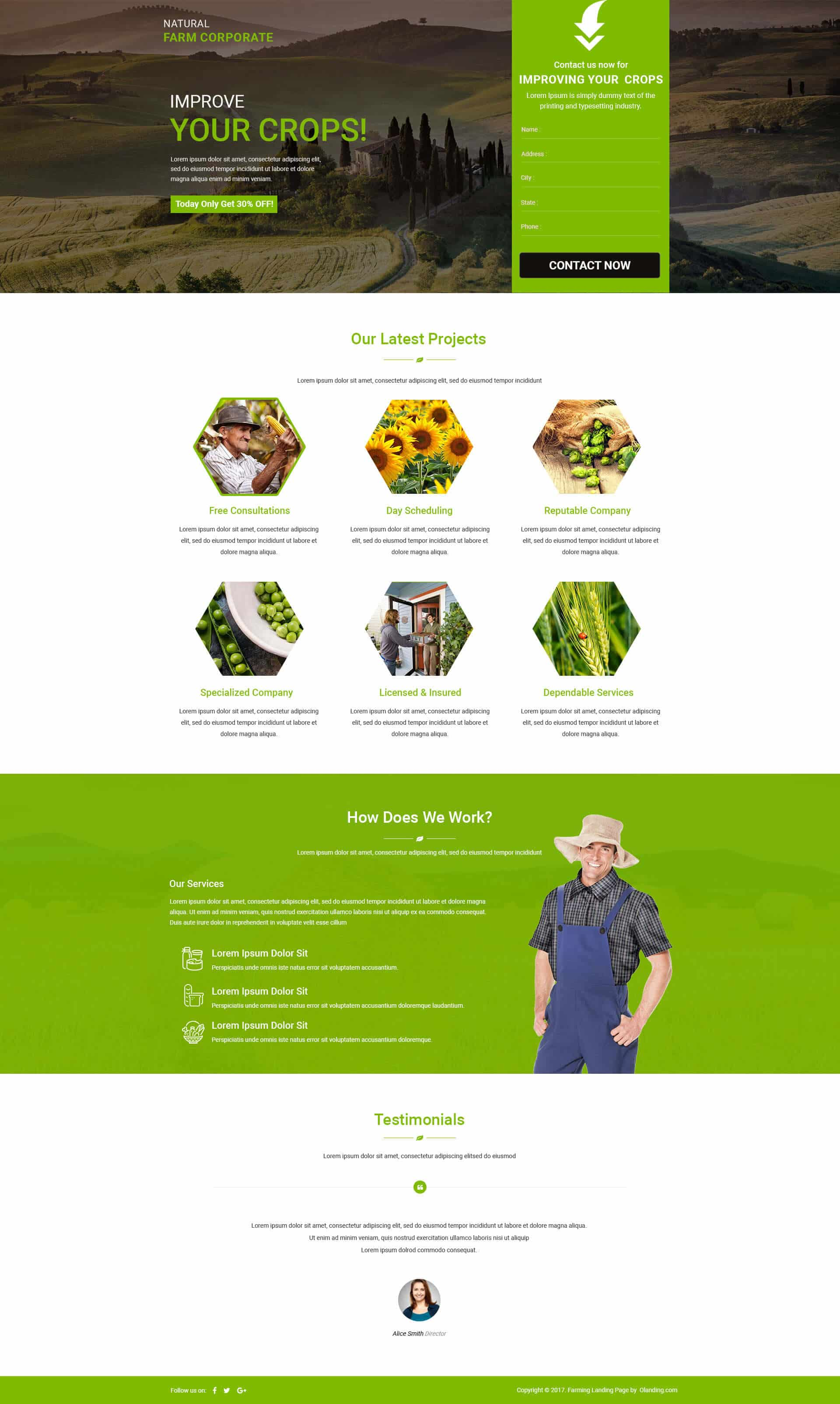 Farm HTML Website Templates Landing Page Template With Free Builder - Html site template