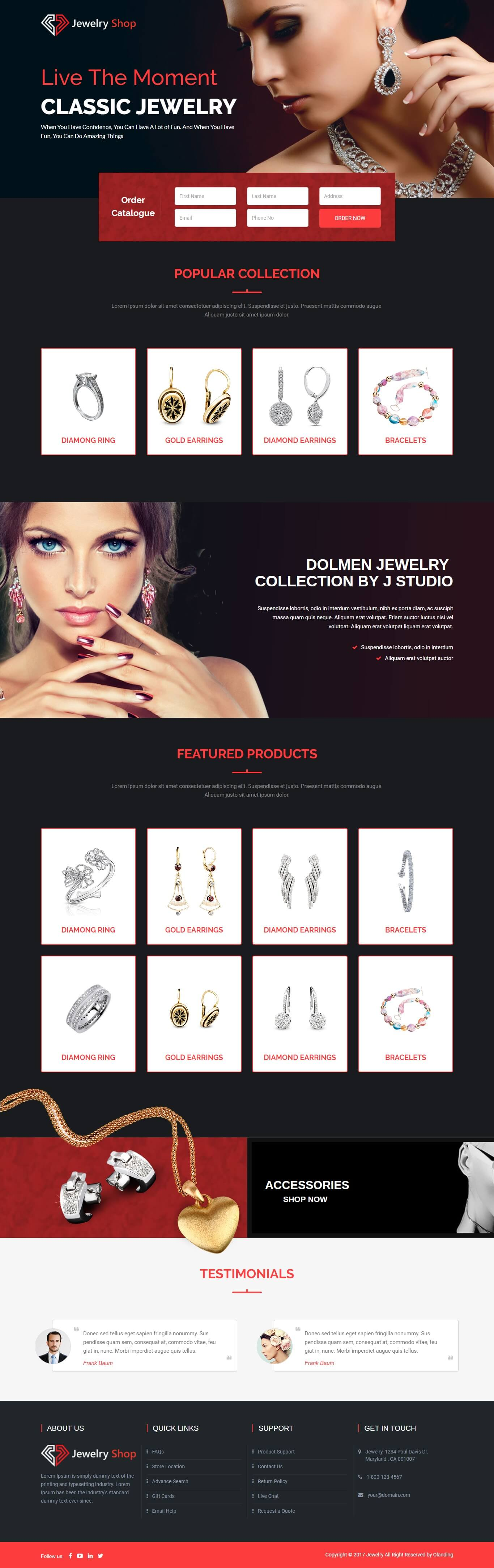 jewelry landing page,