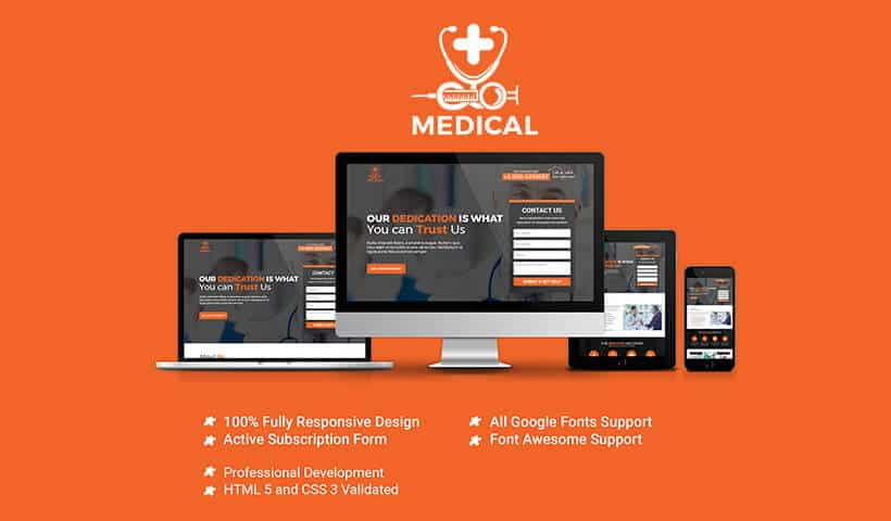 Responsive SEO Friendly Medical Landing Page Template