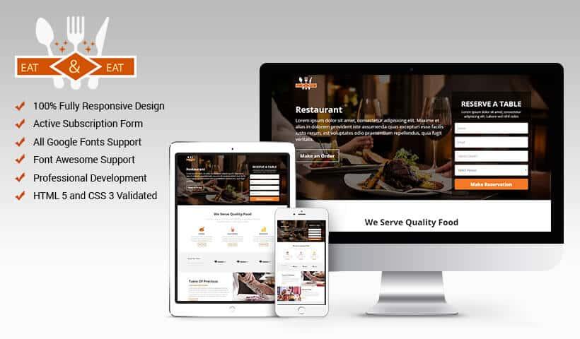 Restaurant, Hotel or Motel HTML Website Templates