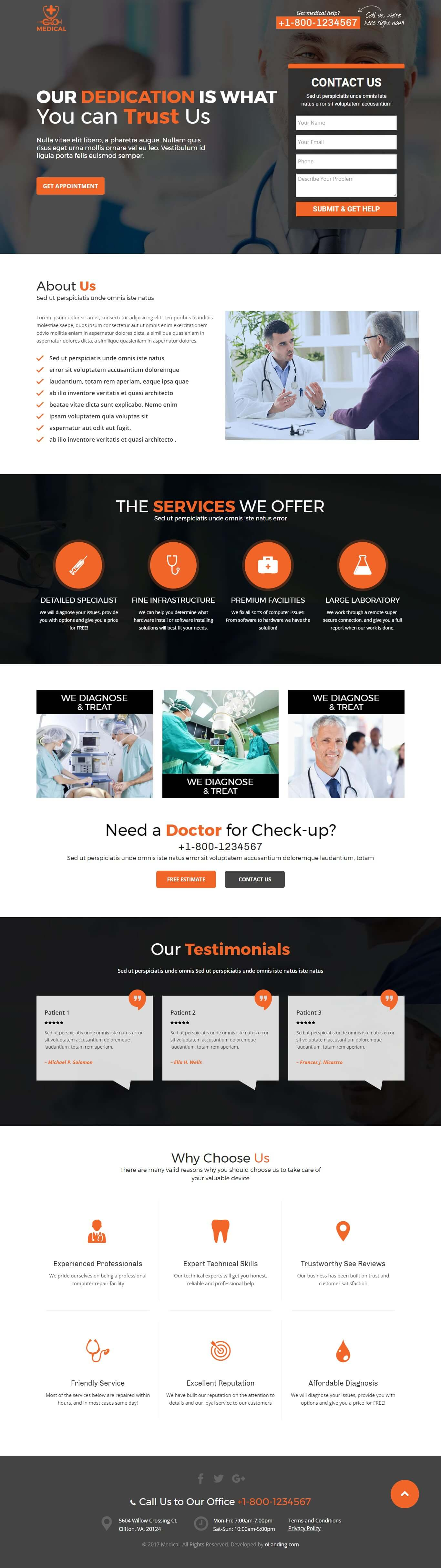 SEO Friendly Responsive Medical Landing Page Template - oLanding