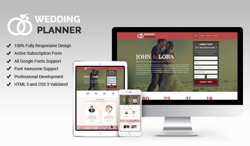 Wedding Landing Page Design Template