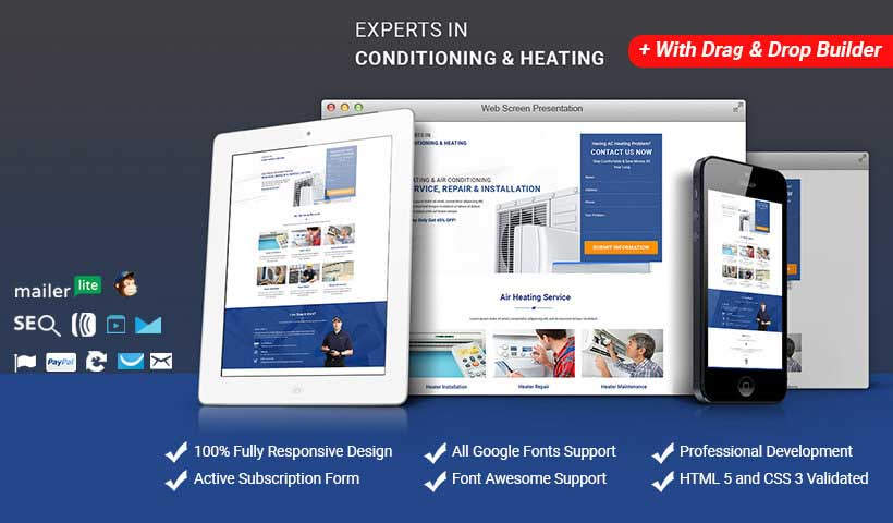 Air Conditioning & Heating services HTML template theme with Free Builder