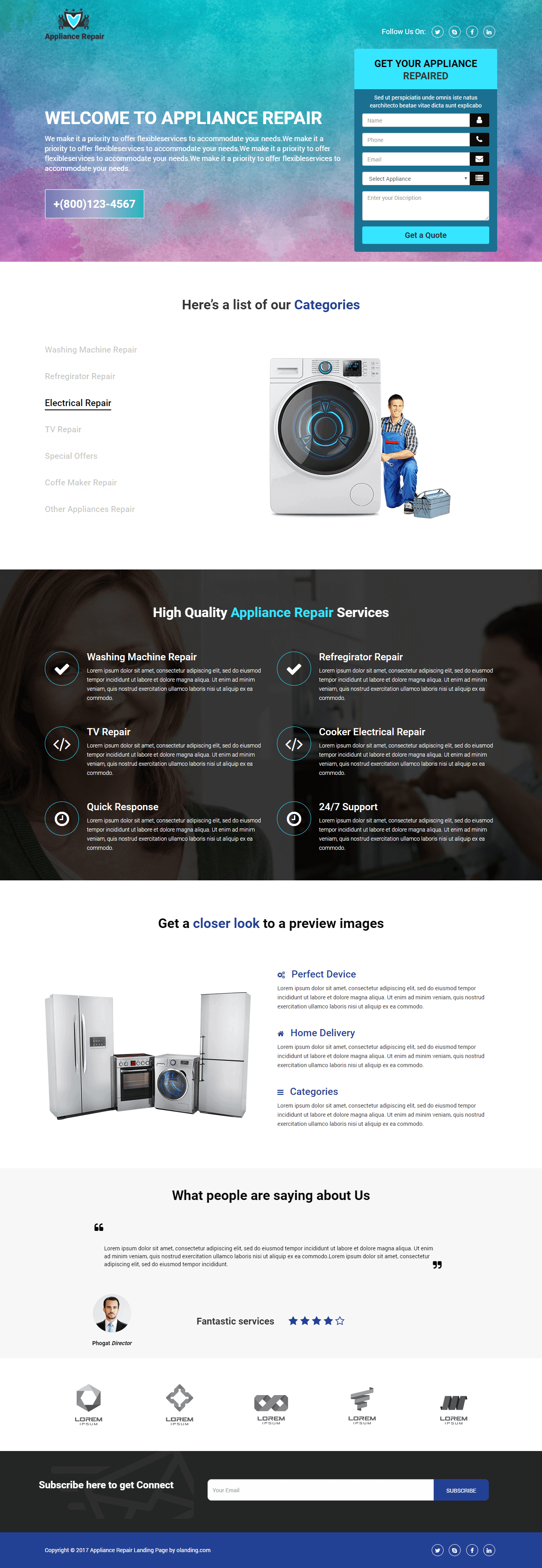 Appliances Repair HTML Template for Handyman Services - oLanding