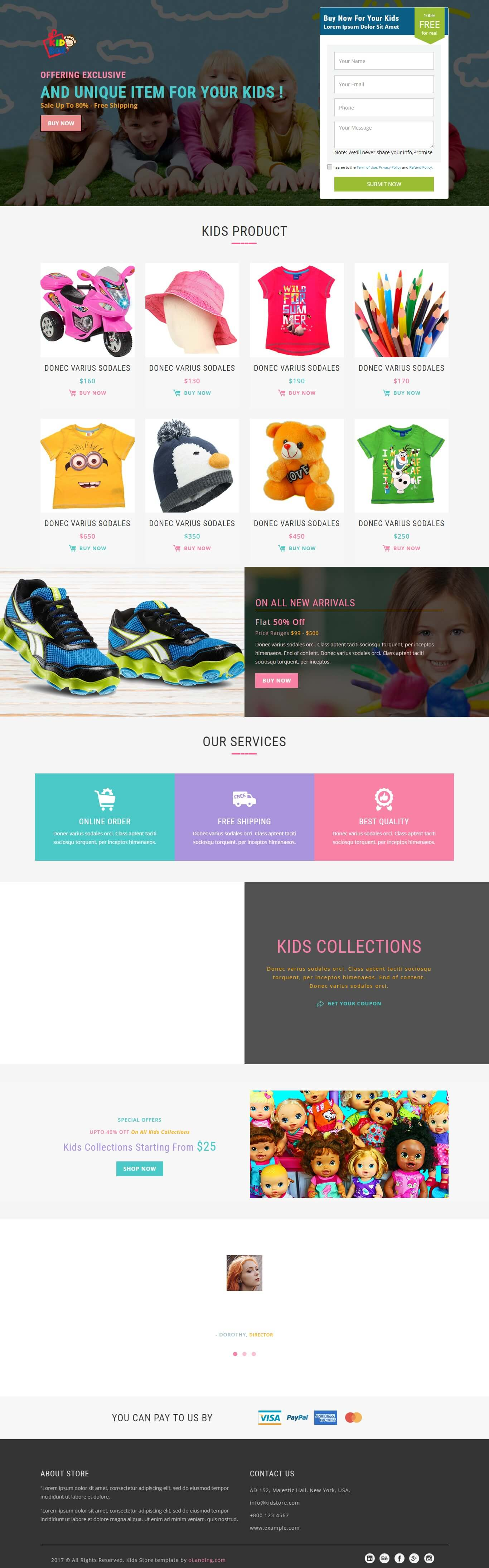 KidStore Baby Store HTML Landing Page Template OLanding - Buy landing page template