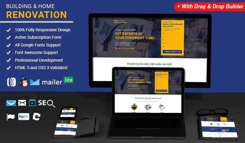 Building & Home Renovation HTML Template with Free Builder