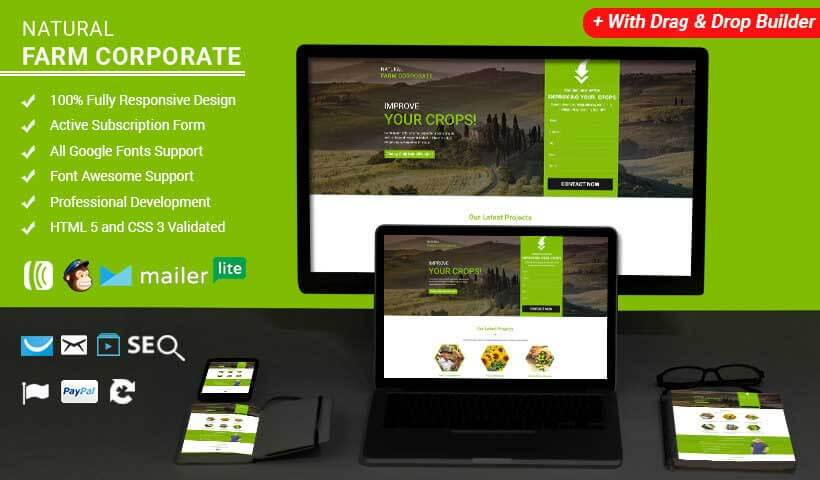Farming HTML Landing Page Template with Free Builder