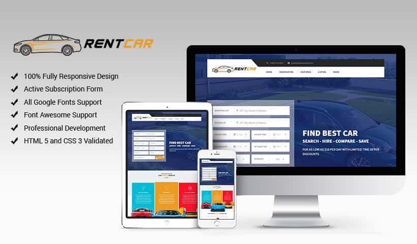 Rent Car - Responsive HTML Car Rental Landing Page Template