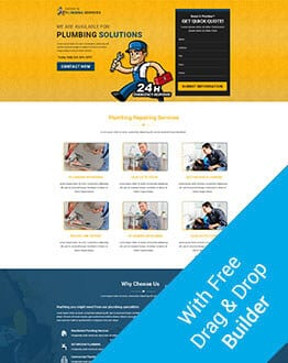 Responsive HTML Plumbing Solution, Repair & Construction Template with Free Builder
