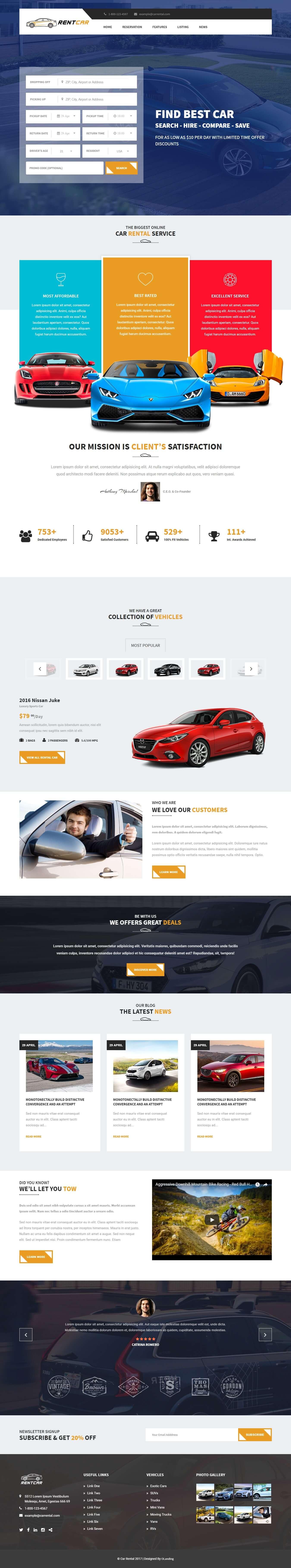 Rent Car - Responsive HTML Car Rental Landing Page Template
