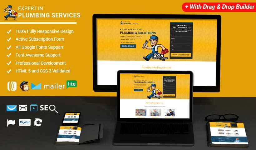Responsive Plumbing, Repair & Construction Template with Free Builder