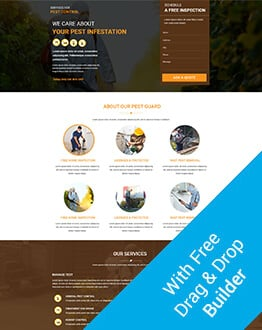 Pest Control Multi Services Provider HTML Landing Page Template with Free Builder