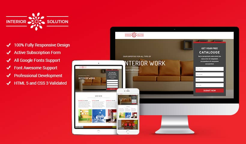 Best interior design landing page website template for Best interior design sites