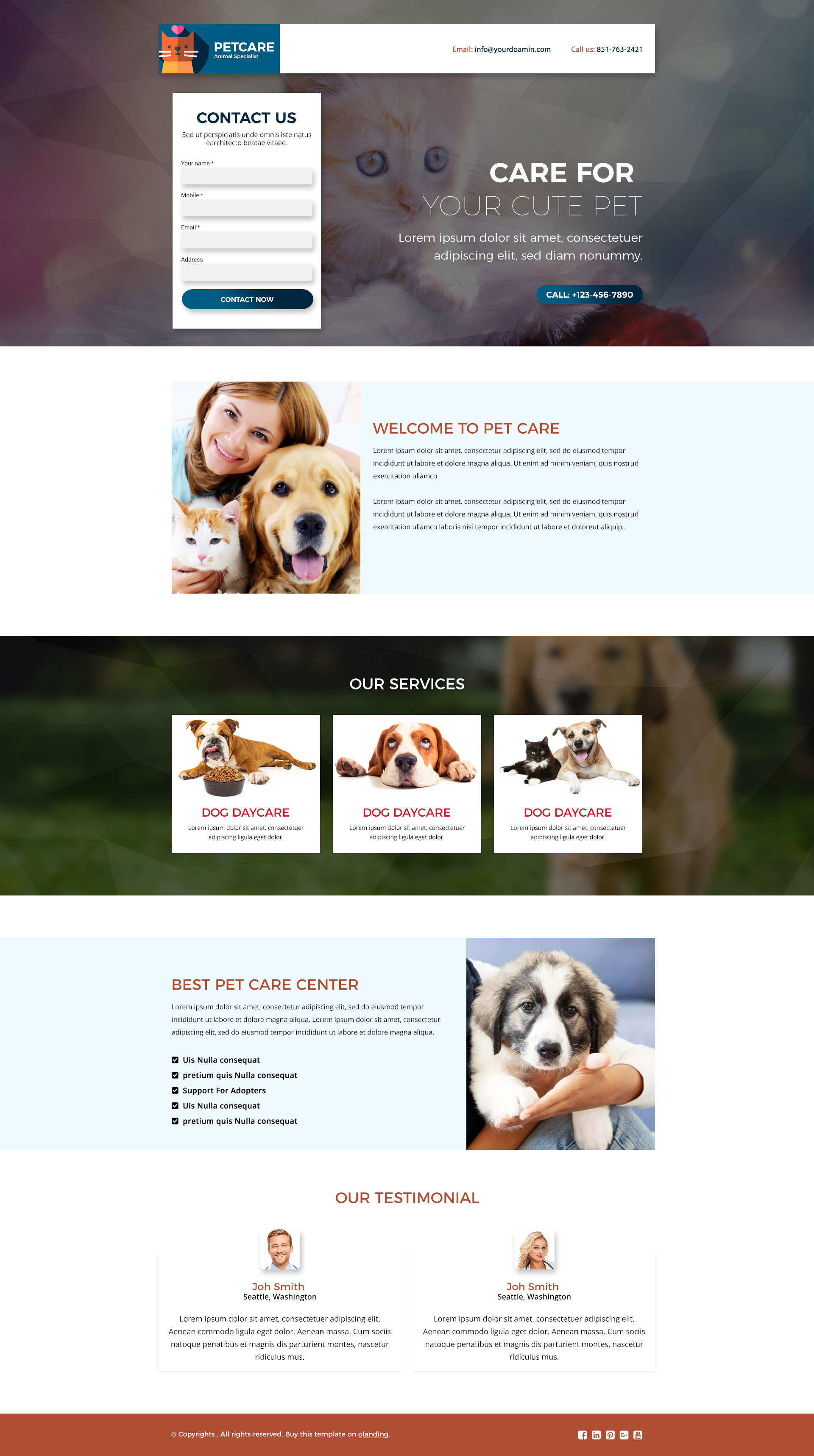 animals care landing page template