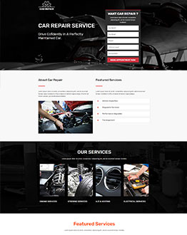 car maintenance landing page template