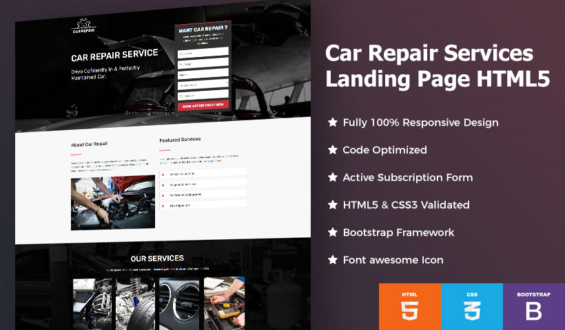 car repair service landing page template