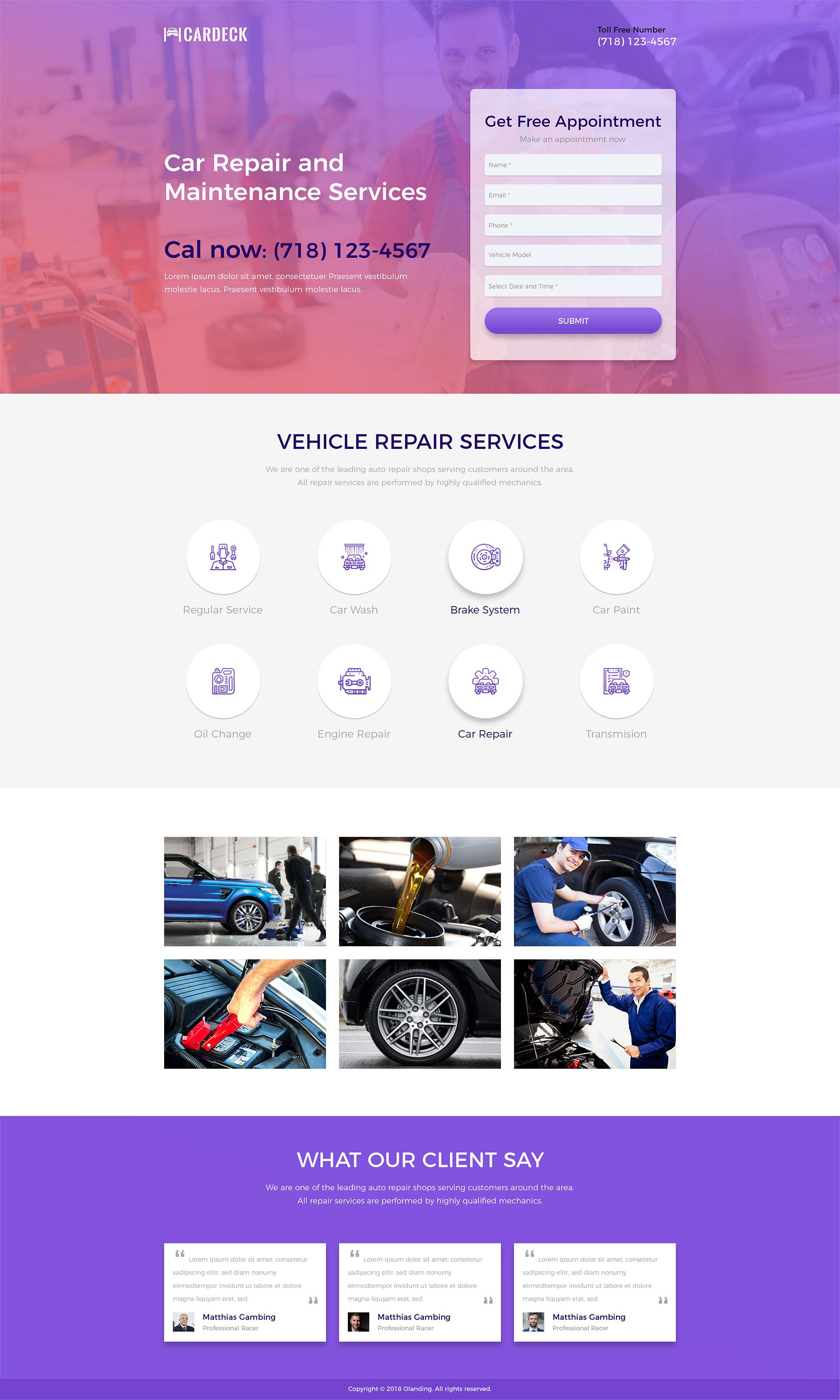 car repairing landing page template