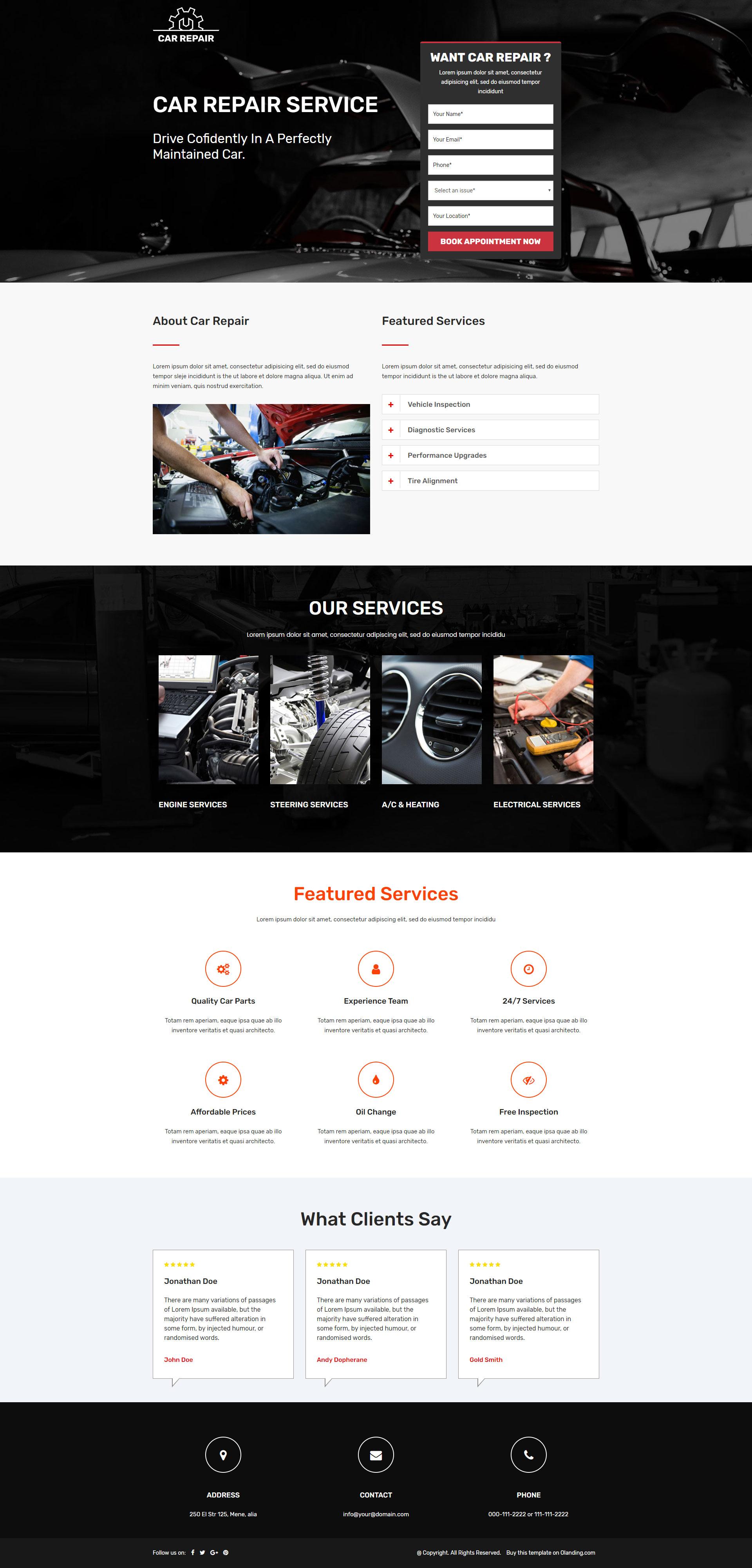 car repairing services landing page